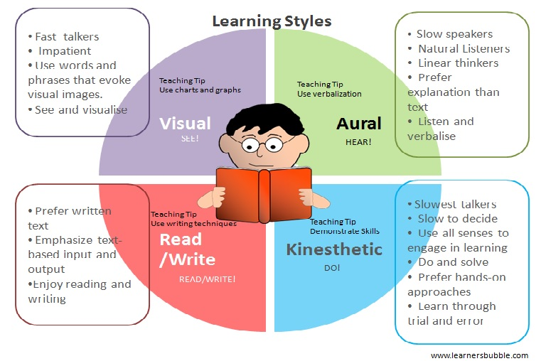 the v a r k learning styles learner s bubble learning styles infographic